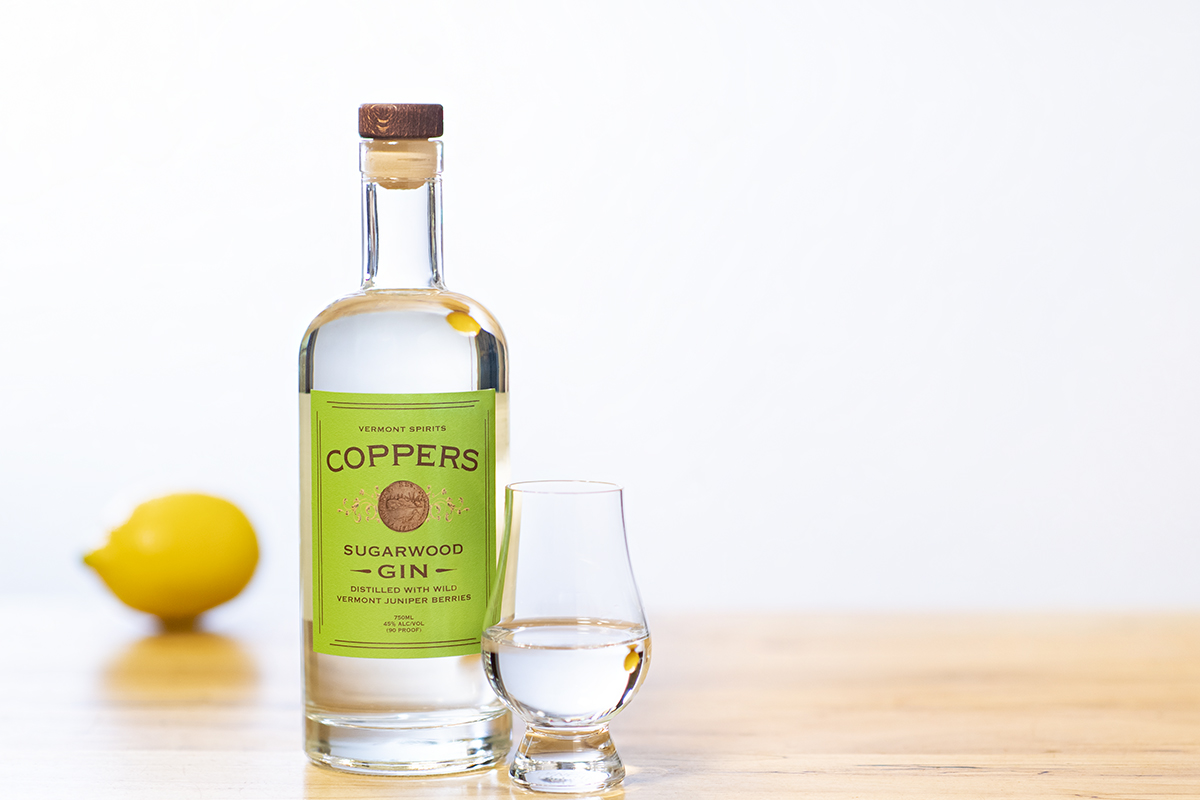 Coppers Gin is distilled with wild juniper berries, hand-picked in Northern Vermont.